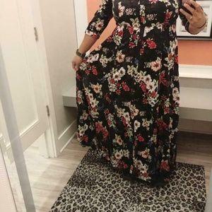 Torrid Floral Maxi Dress Button Down Shirt Dress 2